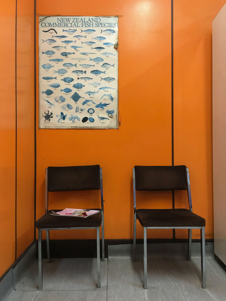 My local fish and chip shop - very retro Chair Empty Fish Indoors  No People Orange Retro Design Seat Waiting Room Wall