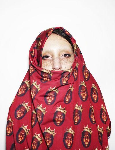 She's rocking a Biggie Smalls printed Burka! DEFINITELY some TRILLISTA shit! JOIN US AT TRILLISTA.TUMBLR.COM Love Music Streetfashion Fashion Hip Hop Style DOPE Trill Burka  Trill Shit Biggie