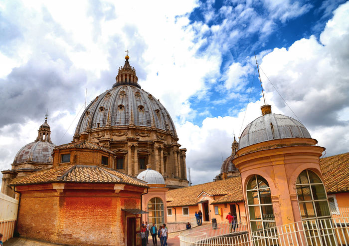 Architecture Roma Vatican Architectural Column Architecture Belief Building Building Exterior Built Structure Cloud - Sky Day Dome Italy Low Angle View Nature No People Outdoors Place Of Worship Religion Sky Spire  Spirituality Tourism Travel Travel Destinations