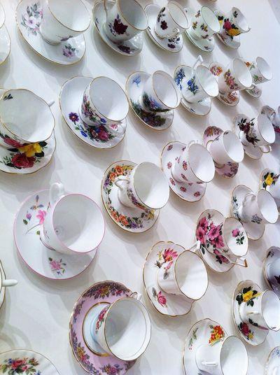 Full Frame Shot Of Empty Tea Cups Arranged On Table