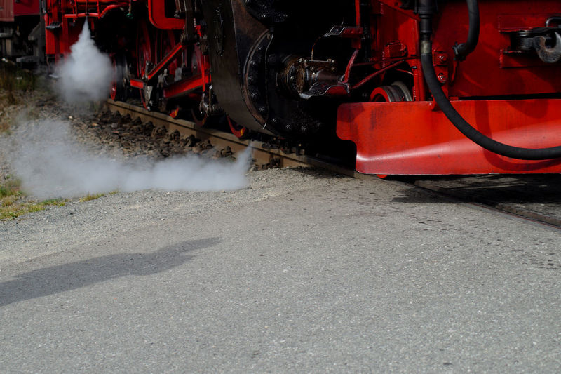 Steam Train Emitting Smoke On Road