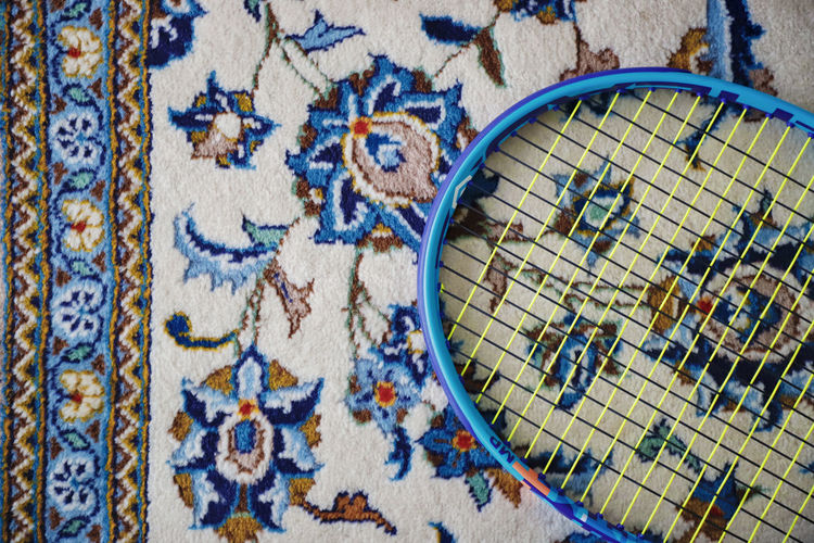 Carpet Carpet Design Design Sport Tennis Blue Grid Tennis Racket Yellow Floral Floral Pattern Craft Art And Craft Creativity Close-up Pattern No People High Angle View Indoors  Directly Above Text Shape Textile Day Wood - Material Western Script Still Life