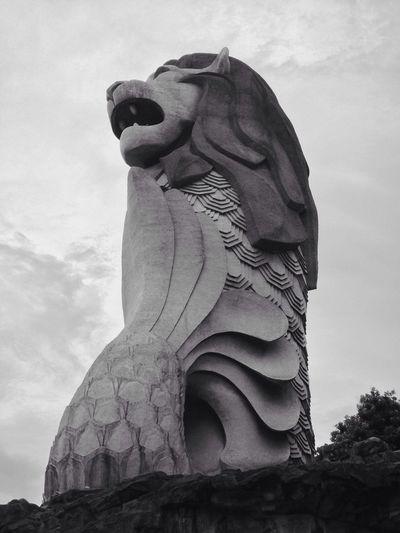 Singapore Merlion Blackandwhite Statue