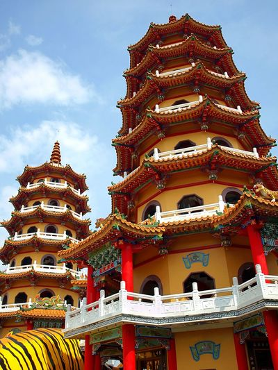 The famous Tiger and Dragon Pagodas at the Lotus Lake in Kaohsiung Chinese Architecture Chinese Culture Cultures Kaohsiung Lotus Lake Pagodas Place Of Worship Religion Tiered Tiger And Dragon