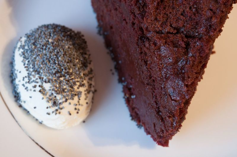 Beetrot Chocolate Cake with Poppy Seed Sour Cream . Baking , Food