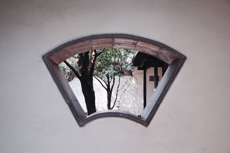 Low angle view of window in building