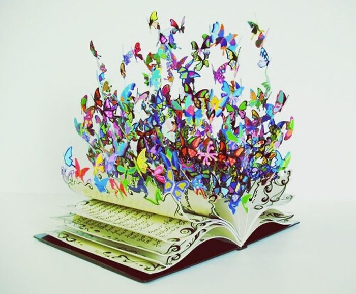 Butterflies coming out of a book Butterfly Books