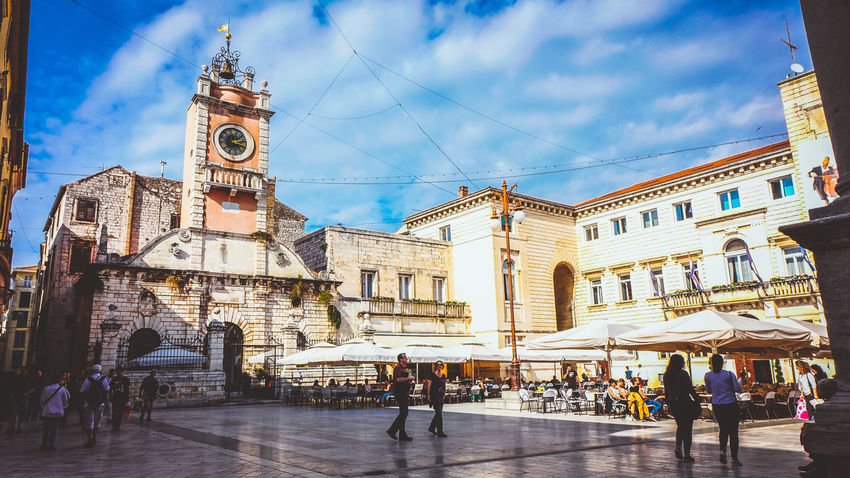 People's Square in Zadar, Croatia City Croatia Historical Building Sightseeing Sky And Clouds Square Zadar Zadar,Croatia Buildings City City Life Clock Clock Tower Clouds Historical Outdoors People Sights Sky Tower Town Urban Walking Zadar Square