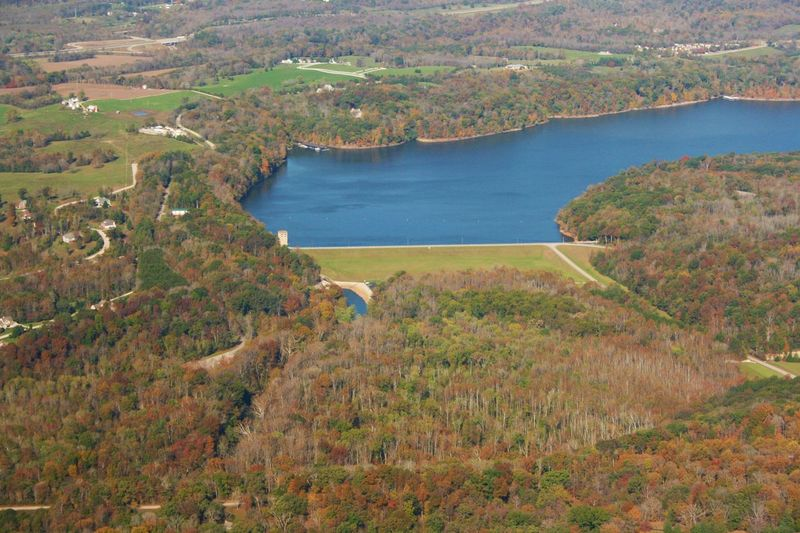 Aerial Shot Aerial View Autumn Beauty In Nature Dam Day Fall Field Grass Horizontal Lake Lake Monroe Landscape Nature No People Outdoors Scenics Spillway Tranquil Scene Tranquility Water Water Dam