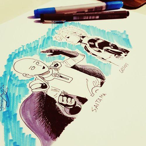 Saitama Onepunchman Drawing Manga Anime Sketchbook Art Artist Art, Drawing, Creativity Anime Drawing Draw My Drawing Sketching Drawings Copicmarkers Mangaart ArtWork Pencil Drawing