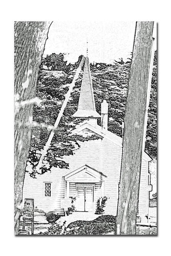 The Chapel At Fort Scott 2 Church Fort Winfield Scott Chapel Built 1941 The Presidio San Francisco San Francisco CA🇺🇸 U.S.Army Military Base Non-denominational Church Seats 300 Worshipers Morale Booster For Troops Architecture Architecture_collection Landscape Landscape_Collection Abstract Photography Abstract Charcoal Sketch My Point Of View. Steeple Trees Distressed Pencil Drawing
