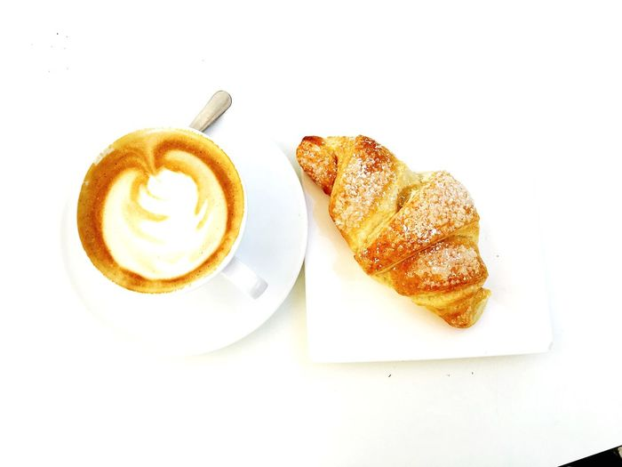 Coffee Cup Cappuccino Breakfast Food Croissant Still Life Coffee - Drink
