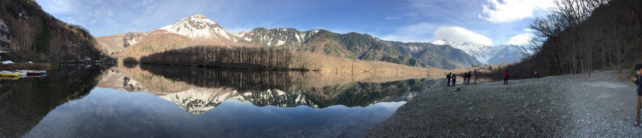 EyeEm Selects Mountain Reflection Mountain Range Beauty In Nature Nature Sky Snow Winter Scenics Tranquil Scene Tranquility Cold Temperature Lake Outdoors Day Water Waterfront Panoramic No People Taishoike Lakeside Kamikochi Alps Alps Japan Geology