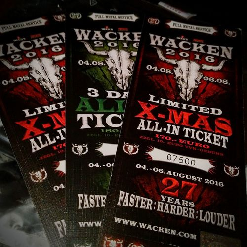 172 Days Left... Rain or Shine... Wacken WackenOpenAir2016 Iron Maiden, Lamb Of God, Eluveitie, Ihsahn, Blind Guardian, Twisted Sister, Whitesnake, Ministry, Orphaned Land,, Blue Öyster Cult, Symphony X, Steel Panther, Testament, Therion, Vader, Arch Enemy, Dragon Force, Metal Church, Marduk, Saxon, Tarja