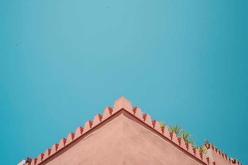 CRNR — Morocco Corner Copy Space No People Architecture Built Structure Roof Blue Triangle Shape Building Exterior Clear Sky Low Angle View Outdoors Directly Below Art And Craft Building Nature Shape Pattern Day Sky Roof Tile The Architect - 2018 EyeEm Awards