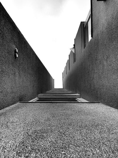 Black And White Looking Up Concrete Wall Buildings And Sky Facades Textures And Surfaces