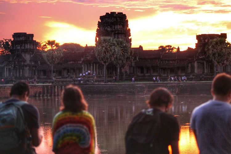 Tourists At Historic Angkor Wat