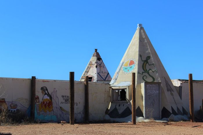 Abandoned Meteor City Trading Post along Route 66/I-40 in Arizona. Abandoned Appropriation Architecture Arizona Broken Window Built Structure Cement Clear Sky Damaged Desert I-40 Native American Route 66 Southwest  Teepee Tourist Attraction  Trading Post