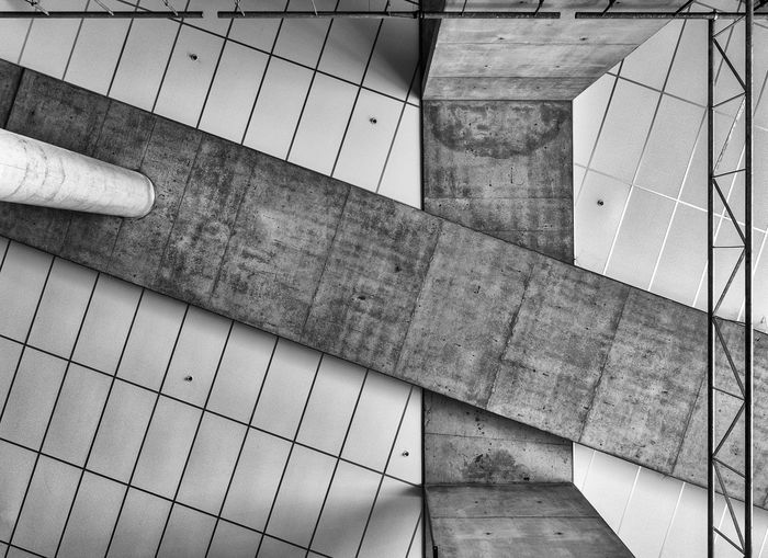 Architecture Black And White Ceiling Concrete High Angle View Indoors  No People