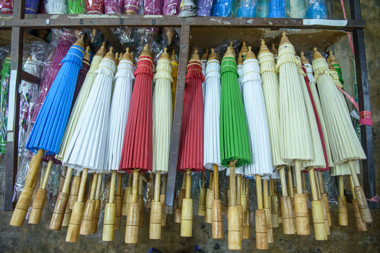 Close-up Colorful Hand Made Lanna Culture Northern Thailand Umbrella Variation