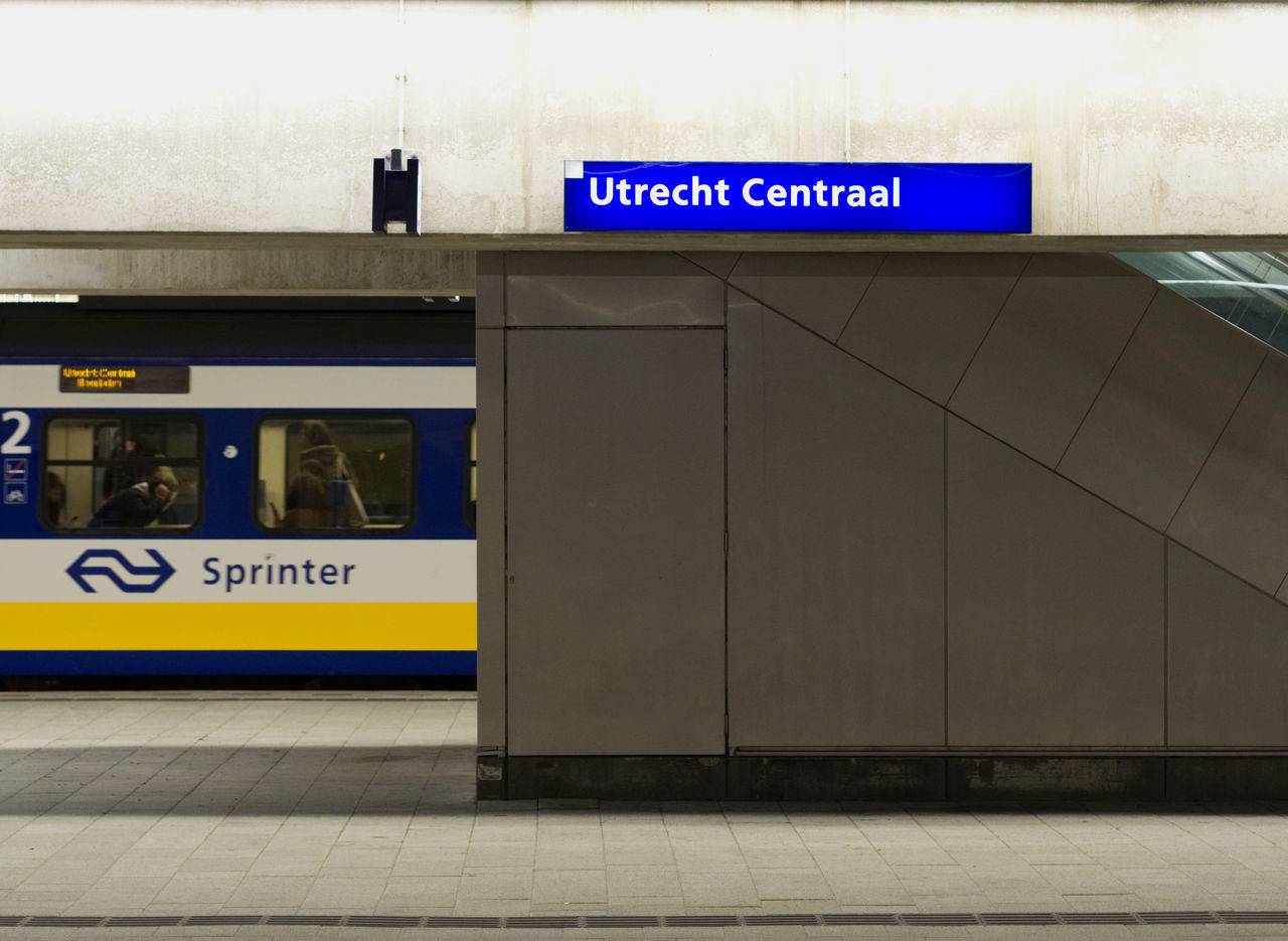 text, transportation, communication, public transportation, railroad station platform, railroad station, no people, indoors, day, nameplate