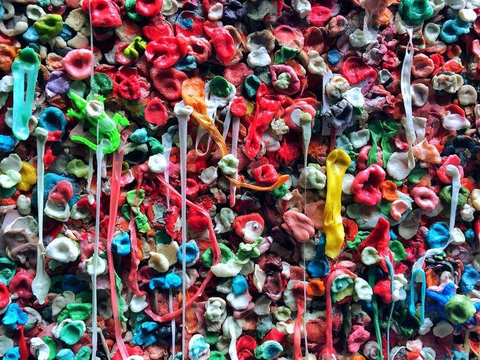 Full frame shot of colorful bubble gum