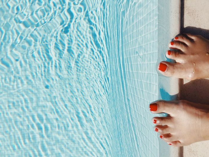 Refreshing dip California Dreamin Tan Red Toenails Red Nail Polish Vacation Summertime Toes Feet Human Body Part One Person Red Adult Women Body Part Nail Polish Swimming Pool Nail Pool Water My Best Photo