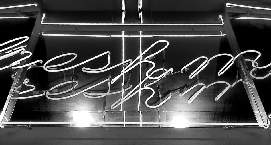 Indoors  Text Neon Black And White Blackandwhite B&w Black And White Photography Urban Illuminated