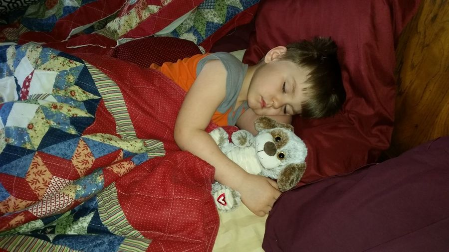 High Angle View Of Boy Sleeping With Toy On Bed At Home