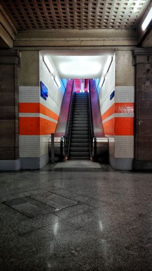 The Way Forward Illuminated Transportation Indoors  Architecture Built Structure No People Day Underground Station  Train Station Orange Color Strairs