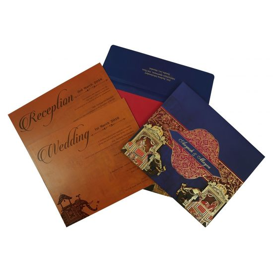 Royal Indian Wedding Cards | AIN-1830 | A2zWeddingCards Give a royal feel to your wedding with Royal Indian Wedding Cards. Shop this invite at 20% discount at: https://www.a2zweddingcards.com/card-detail/AIN-1830 Indian Wedding Cards Indian Wedding Invitations Indian Wedding Invites Royal Indian Wedding Cards Royal Wedding