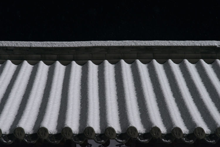 High angle view of roof at night