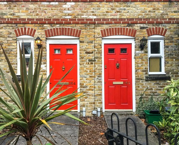 KnockKnock Red Day Outdoors Architecture No People Built Structure Building Exterior Plant Entrance Doors British Symmetry Façade Hither Green London Postcode Postcards