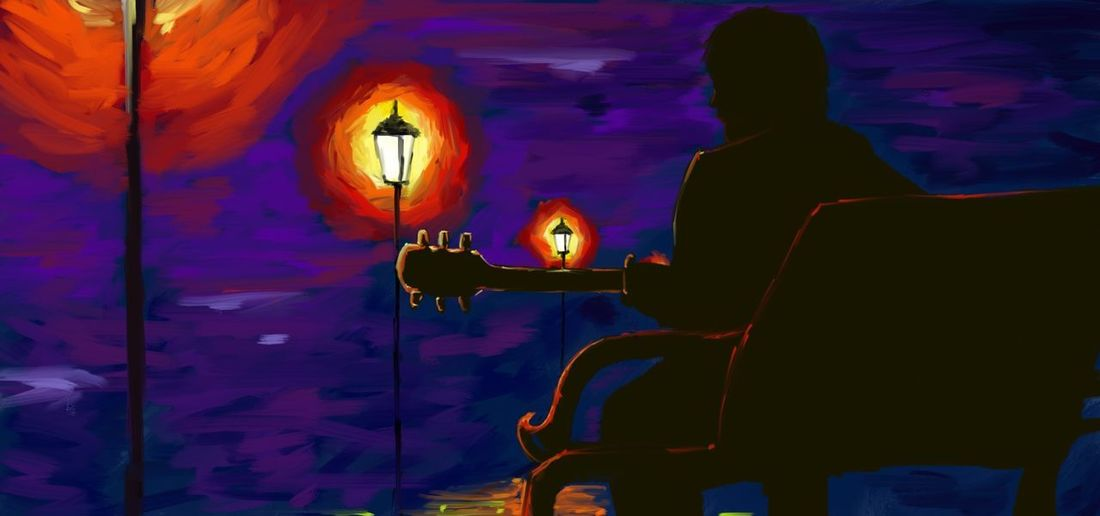Digital Art Digital Paint Digital Painting Guitar Guitarist High Contrast Lonely Night Night Lights One Person Silhouette