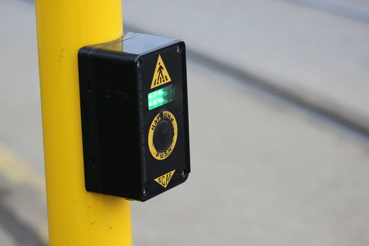 Black And Yellow  Button Control Direction Green Light Guidance Information Sign Push Q Showcase March Sign Symbol Technology Text Yellow Up Close Street Photography The Street Photographer - 2016 EyeEm Awards