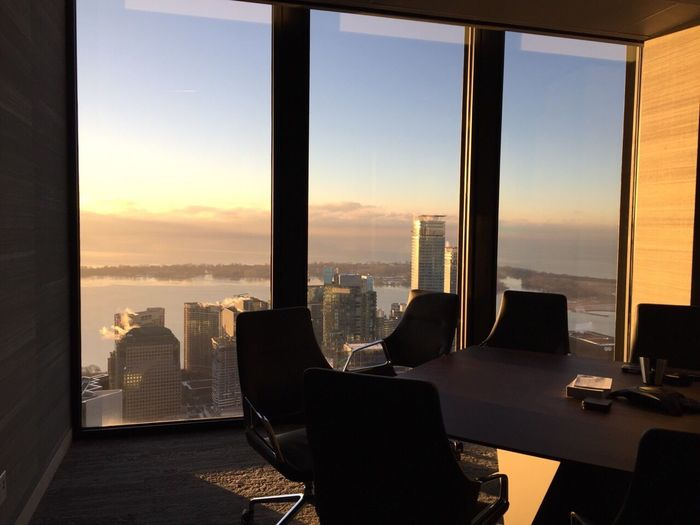 Empty boardroom during sunset