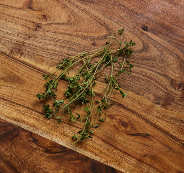 Cooking Close-up Cutting Board Day Directly Above Food Food And Drink Freshness Green Color Healthy Eating Herb High Angle View Indoors  Ingredient Nature No People Organic Preparation  Rustic Table Thyme Wood - Material Wood Grain