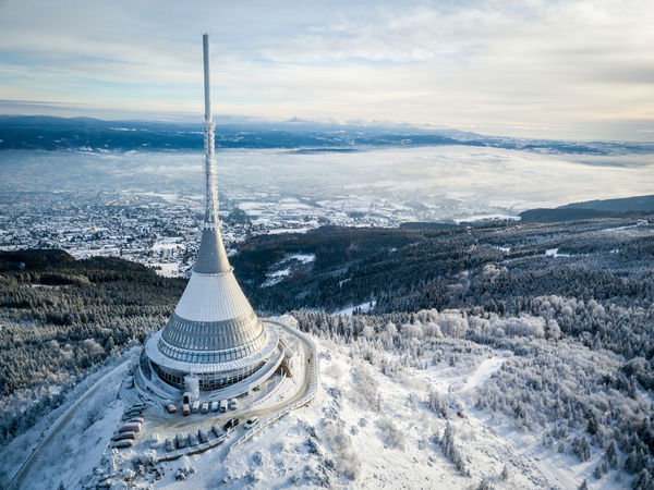 Czech Republic Beauty In Nature Cloud - Sky Cold Temperature Day Fromwhereidrone Jested Landscape Liberec Mountain Nature No People Outdoors Road Scenics Sky Snow Tranquil Scene Tranquility Winter