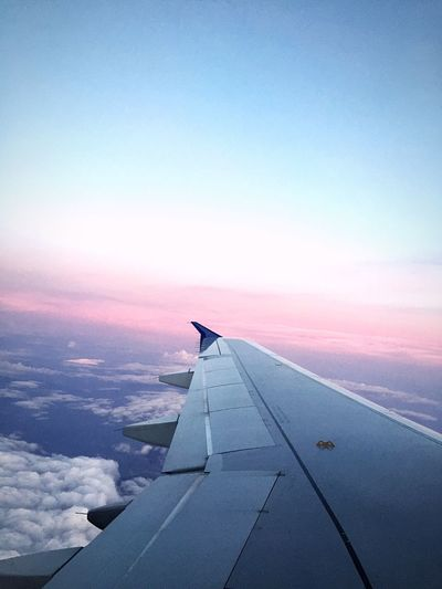 Plane Wing Travel Flying Airplane Sky Clouds Colors In The Sky Evening Night Pink Sundown Sunset On The Way TakeoverContrast An Eye For Travel Colour Your Horizn