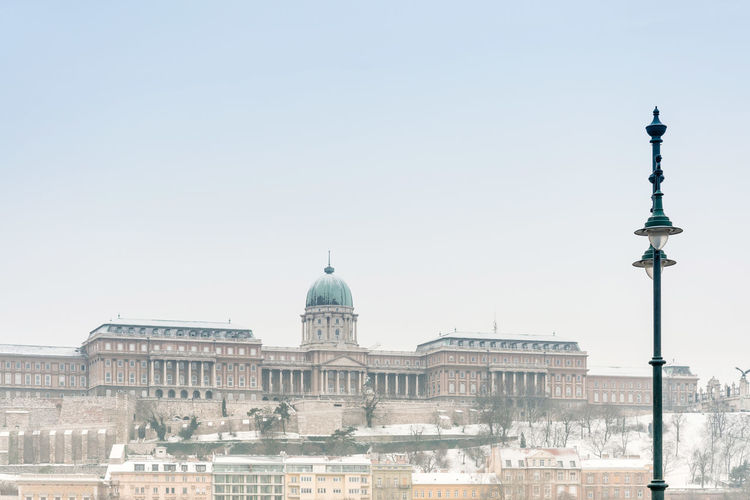 Royal palace of buda against clear sky