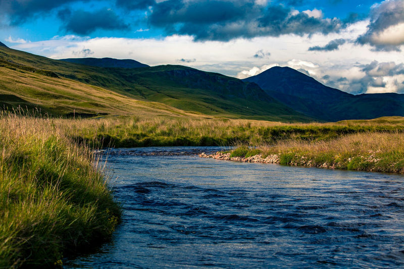 Winding river in the Scottish Highlands Landscape Cloud - Sky Mountain Scotland Scottish Highlands Highlands River Riverscape Travel Travel Destinations Exceptional Photographs Outdoors Trekking Trek Wanderlust Flowing Water