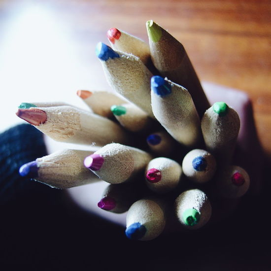 Colored Pencils Pencils The Color Of School Hand Holding Hand EyeEm Diversity