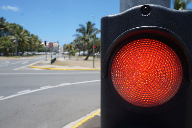 stop! Close-up Danger Day Illuminated Lighting Equipment No People Noumea Outdoors Red Red Light Road Road Sign Road Signal Safety Sky Stoplight Traffic Transportation