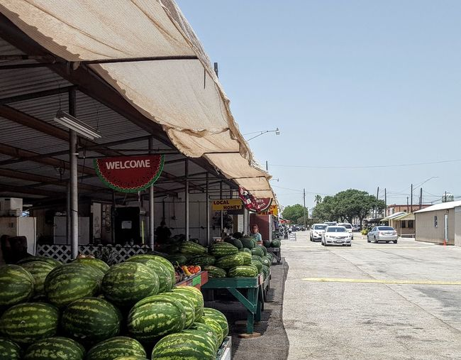 Farmers Market Farm Life Marketplace Watermelon Watermelon🍉🍉🍉 Farmers Market Narrow Street Texas Hill Country Harvest Time Americana Farm Sky Architecture Building Exterior Built Structure Awning
