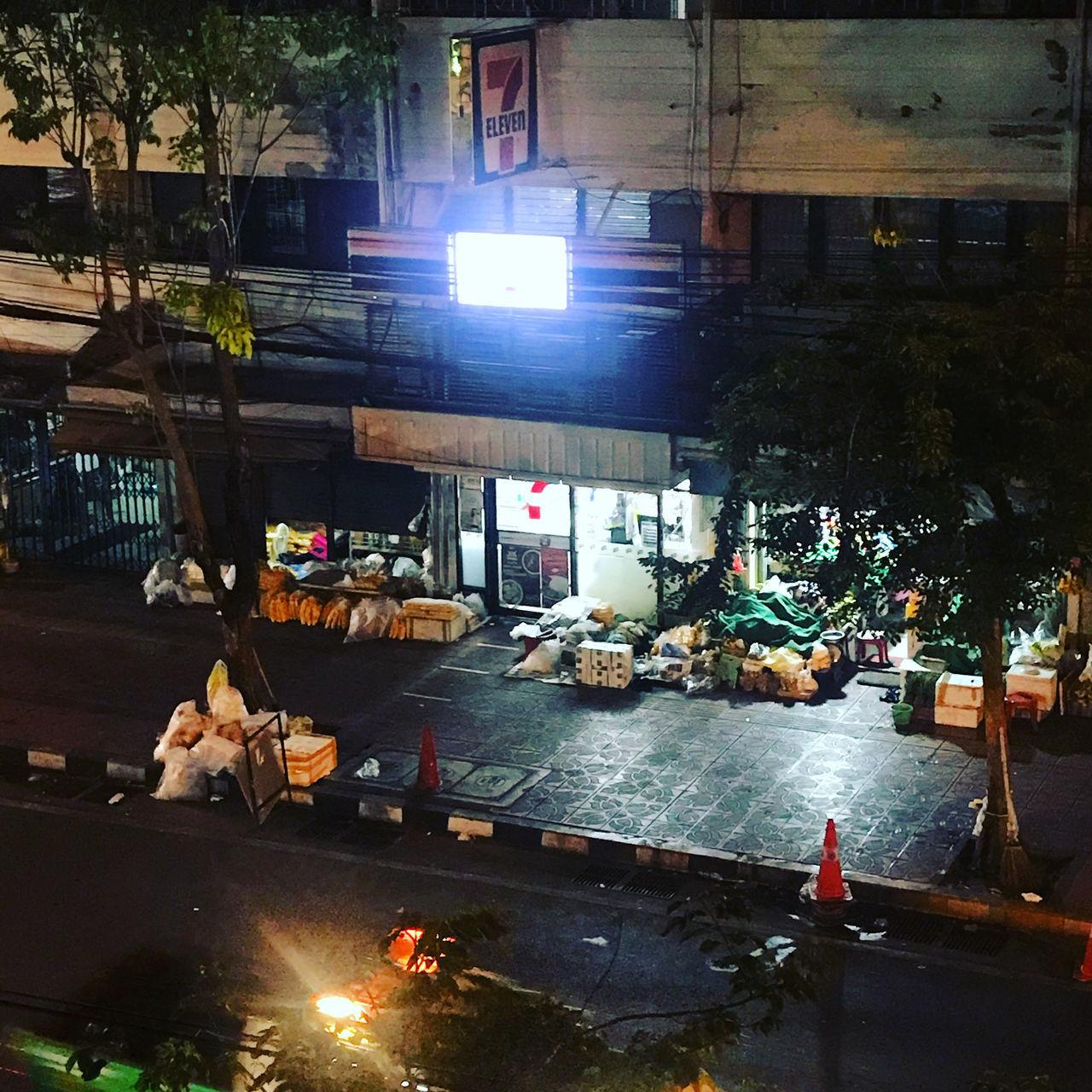 ILLUMINATED STREET AT MARKET