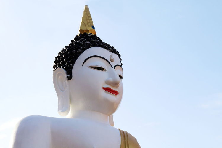 Statue White Buddha Statue White Buddha Architecture Art And Craft Belief Clear Sky Creativity Day Human Representation Idol Low Angle View Male Likeness Nature No People Outdoors Religion Representation Sculpture Sky Spirituality Statue Statue Buddha Sunlight White Buddha