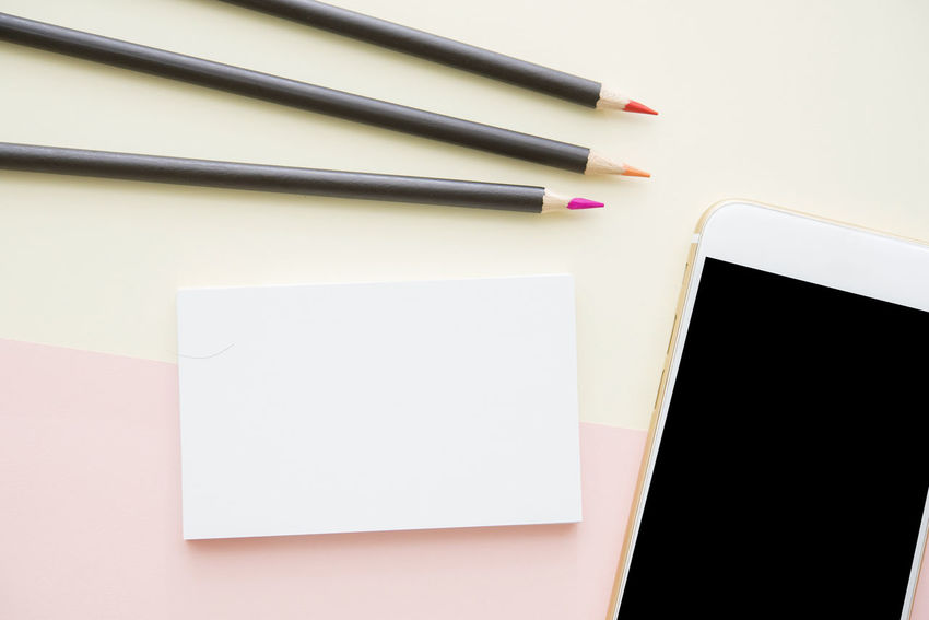 Copy Space Desk Office Pencils Pink Screen Work Art Busniness Card Flat Lay Minimalism Pastel Smart Phone Style Technology Top View