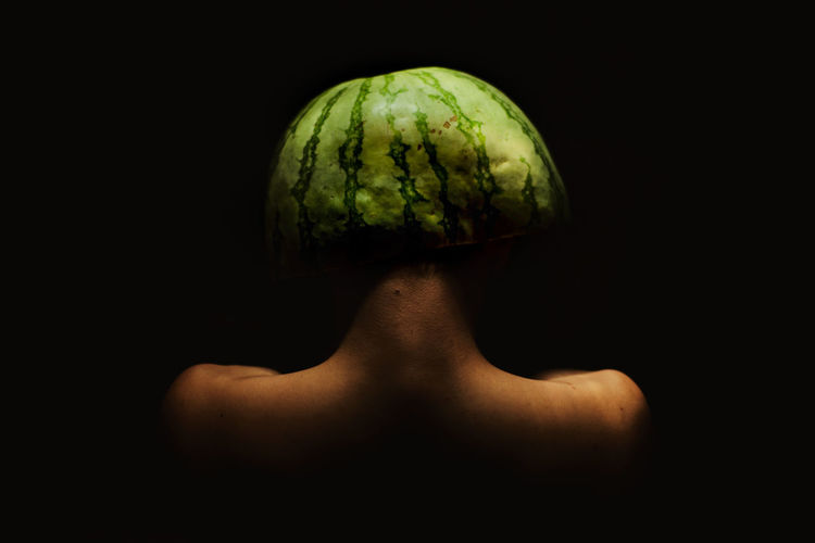 My Best Photo Watermelon Adult Indoors  One Person Headshot Black Background Fruit Art Conceptual Photography