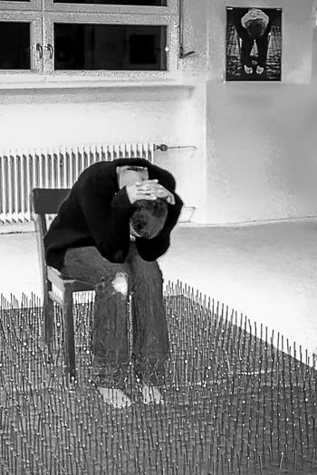 Doubled Installation Art: Live and as Photography (Ludwigsburg 2001) 2001 Artist Black And White Built Structure Casual Clothing Chair Double Exhibition Full Length In Front Of Indoors  Installation Art Monochrome Photography Nails Side View Sitting Unrecognizable Person Young Adult Young Woman