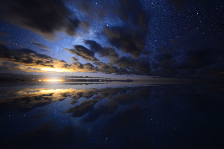 Somewhere where this is not here, Uyuni salt flat, Bolivia Beach Beauty In Nature Cloud - Sky Dawn Day Galaxy Horizon Over Water Idyllic Nature No People Outdoors Reflection Scenics Sky Star - Space Sunrise Tranquil Scene Tranquility Water